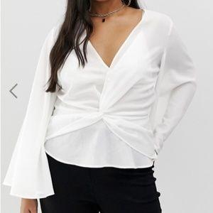 Asos Curve twist front kimono blouse in white